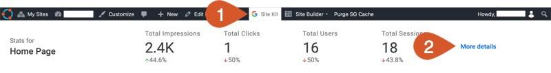 WPHubSite WordPress website Admin Bar Site Kit data.