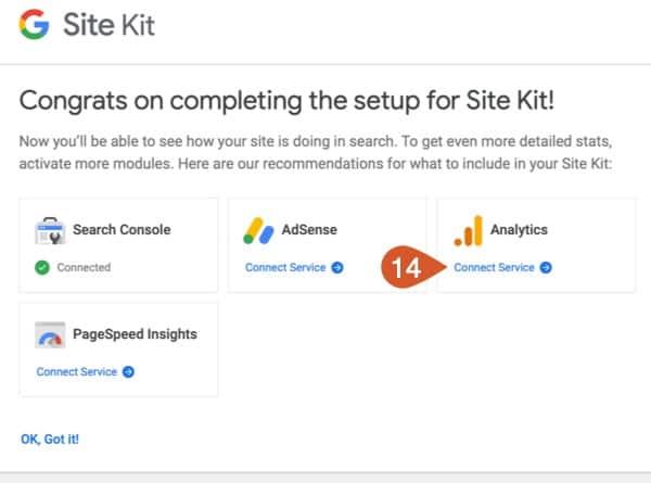 Google Site Kit setup Google Analytics.