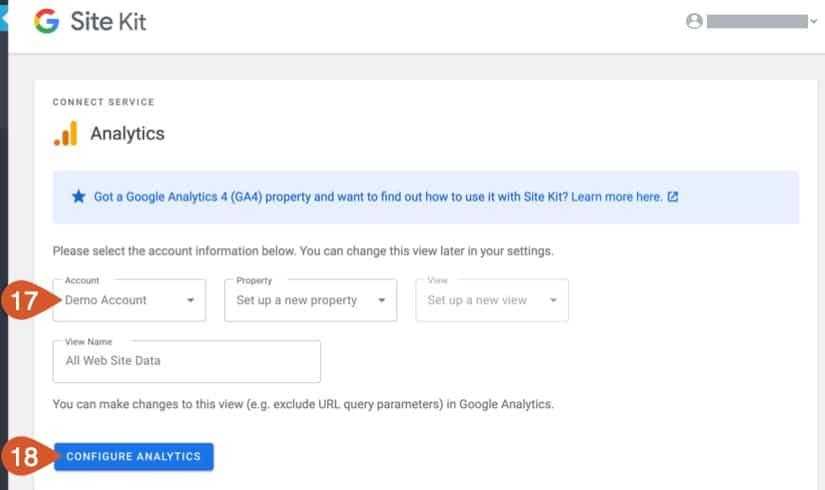 Google Site Kit Analytics Setup.