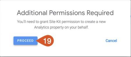 Grant permission to Google Site Kit Analytics setup.