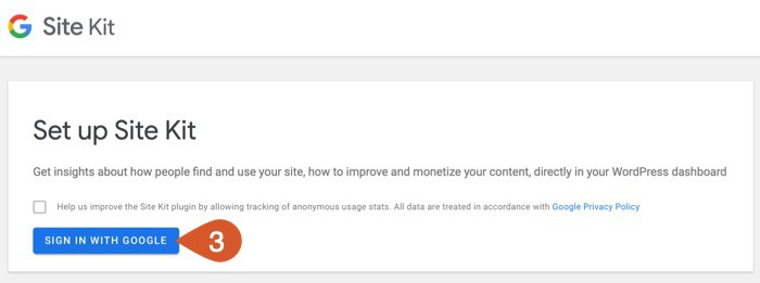 Sign in with Google to start the Google Site Kit setup process.
