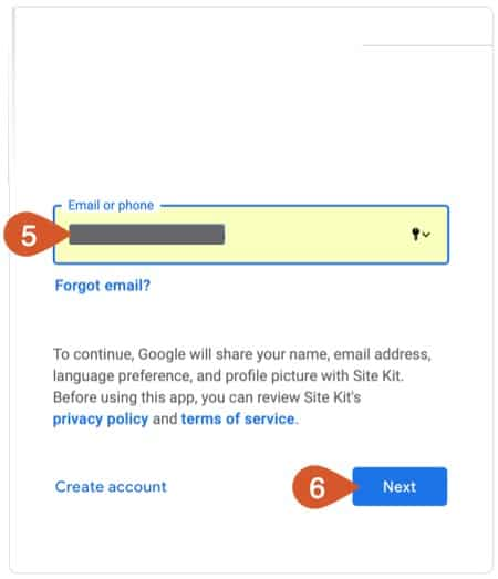 Google account email or phone information.