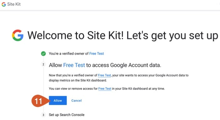 Allow the Google Site Kit plugin on WPHubSite to access your Google Account information.