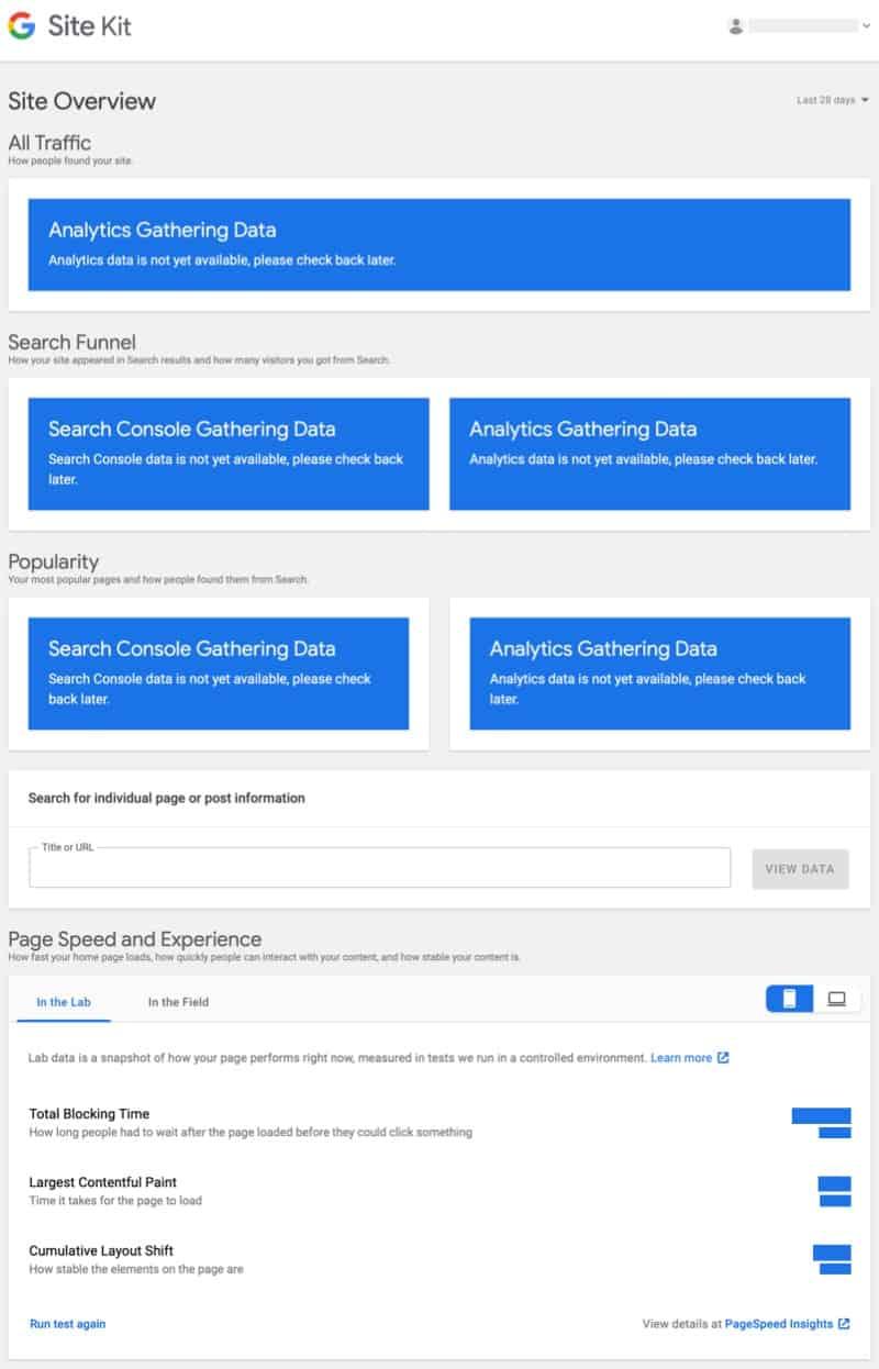 Google Site Kit WPHubSite WordPress dashboard Site Overview.