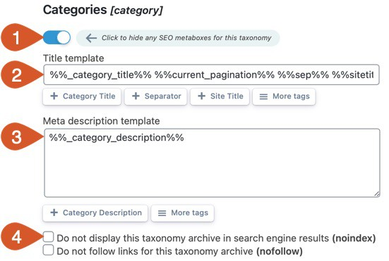 Taxonomies title and meta description template and settings.