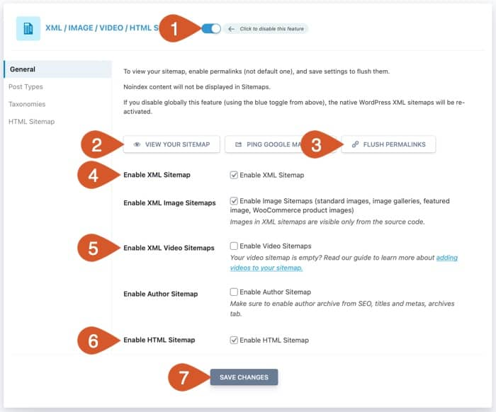 WPHubSite website sitemap general settings.