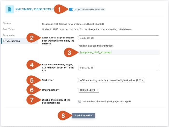 WPHubSite HTML sitemap settings.